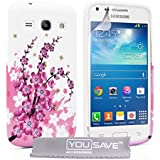 Yousave Accessories Samsung Galaxy Core Plus Hülle Weiß/Rosa Blumen Biene Silikon Gel Hülle