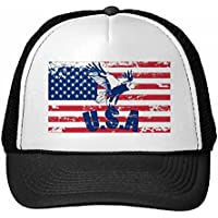 DIYthinker Las Barras y Estrellas de la Bandera de Estados Unidos Gorra de béisbol del Haliaeetus Águila Gorros de Nylon Gorro Casquillo Ajustable para Adultos