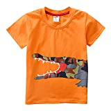 BHYDRY NiñIto Niños Bebé Chico Chica Ropa De La Historieta De Manga Corta Camiseta De Las Tapas De La Blusa(Naranja,130)