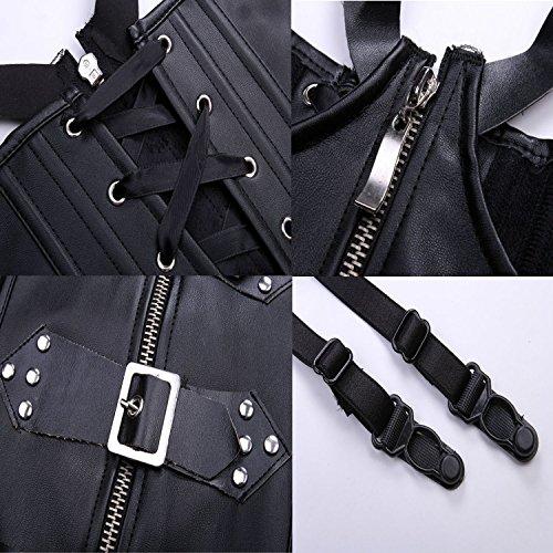 Kiwi-rata Steampunk Gothic Korsett Korsage Corset Clubwear Corsagen Schwarz Gr. S – 6XL, Schwarz, XXL - 5