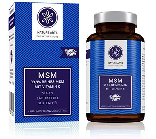 MSM Kapseln von Nature Arts | 365 Stück | 1200 mg MSM Pulver pro Tagesdosis | mit Vitamin C | frei von Zusätzen wie Gelatine oder Magnesiumstearat | vegan | hergestellt in Deutschland