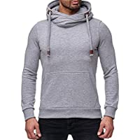 Robemon➳Fashion Hommes Sport Loose Couleur Unie Manches Longues Hooded Shirt  Top Hoodie Yoga Blouse b5cce059f4c