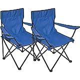 Campingstuhl faltbar mit Getränkehalter kleines Packmaß praktischer Faltstuhl Angelstuhl 2-er Set - Blau