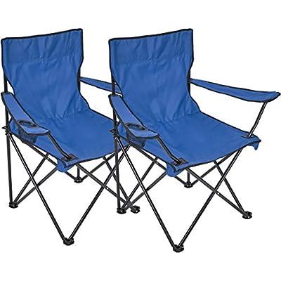 ce083b0e6 2 x Silla plegable Silla de camping con soporte para bebidas en  reposabrazos silla plegable