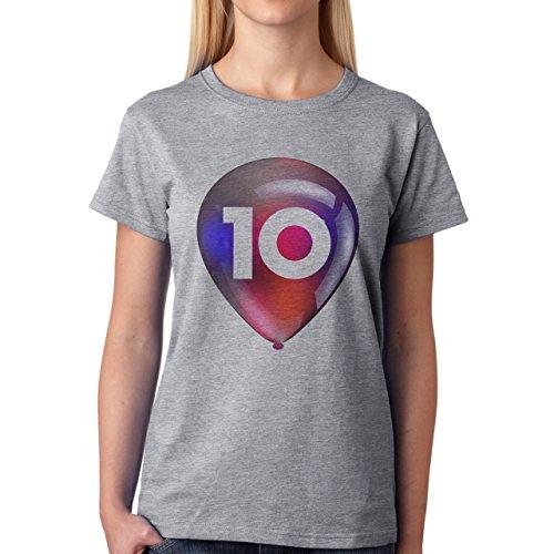 Number Math Symbol Calculus Equations Ballon Ten Damen T-Shirt Grau