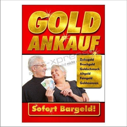 Werbeschild für Goldankauf DIN A1, Werbeplakat Plakat Poster Gold Bargeld