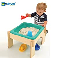 Wonderwall EYFS Nursery Wooden Sandpit, Sand and Water Play Table Station - Birch Wood - Simply Slot Together and Play - 2 in 1Play Table for Toddlers, Nursery, Kids, School, Home