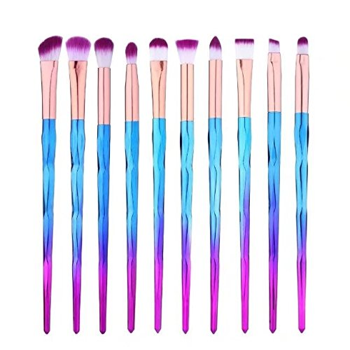 Ensemble de pinceaux pour les yeux 10 pcs fard à paupières Eyeliner Lip Brush Powder Foundation outil cosmétique pinceaux Kit