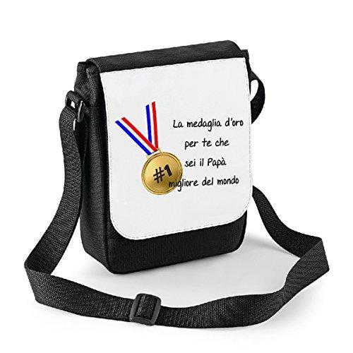 Mini borsa a tracolla Festa del Papà La medaglia doro per te che sei il miglior papà del mondo - humor - happy fathers day - idea regalo - misura 18x22 cm Bianco