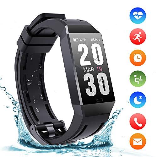 Montre Connectées Bracelet Trackers d'activité IP68 Etanche Sport Watch avec 140mAh Batterie Podomètre Fréquence Cardiaque pour iPhone Huawei Samsung Xiaomi