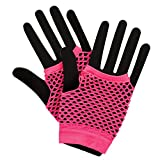 80's Net Gloves - Neon PINK Fancy Dress Accessory