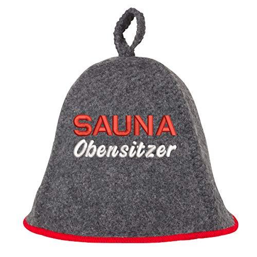 Saunahut Verschiedene MOTIVE und SPRÜCHE Saunakappe Saunamütze Sauna Filz Kappe Lustige Hüte (Obensitzer)