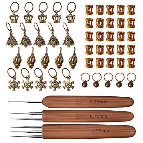 LUTER Crochet Hooks 3Pcs/Set (1Hook, 2Hook, 3Hook) Bamboo Hair Weaving Dreadlock 0.75mm Häkelnadel Häkelnadeln Dreadlock-Werkzeug mit 50 Dreadlocks-Dekorationen - Dreads Die Häkelnadel