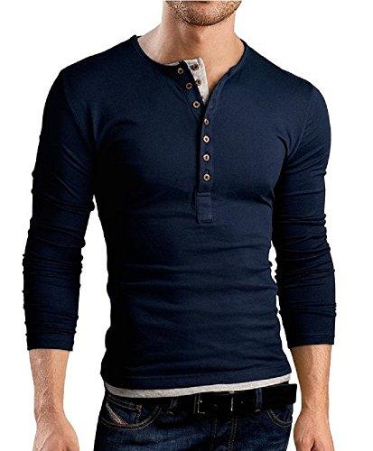 BOMOVO Herren Freizeit Langarm T-Shirt Shirt Henley Slim Fit Marineblau