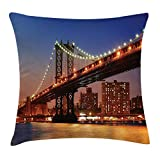 New York Throw Pillow Cushion Cover, Manhattan Bridge with Night Lights Over Hudson River Brooklyn Popular Town Image, Decorative Square Accent Pillow Case, 18 X 18 inches, Blue Orange