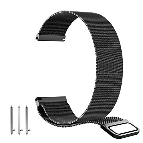 BarRan Ticwatch e Strap, 20mm Milanese Premium Ciclo de Aço Inoxidável com Fechadura Magnética Única (não requer fecho) e Adaptador para Ticwatch E