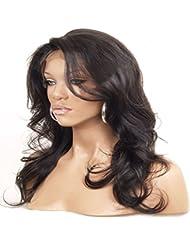 sexyqueenhair brésilien naturel ondulés avant en dentelle perruques de cheveux humains Densité 120% ~ 130% naturel petites naturel couleur # 1B (71 cm)