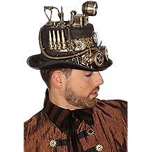 Schwarzer Steampunk Zylinder mit Bronze-Verzierungen und Goggles Gr. 58 Herren Hut Zahnräder Patronen