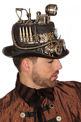 (shoperama Schwarzer Steampunk Zylinder mit Bronze-Verzierungen und Goggles Gr. 59 Herren Hut Zahnräder Patronen, Variante:Grubenlampe)
