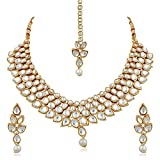 #3: PALASH GLITTERING GOLD PLATED DESIGNER NECKLACES SET WITH WHITE KUNDAN FOR WOMENS