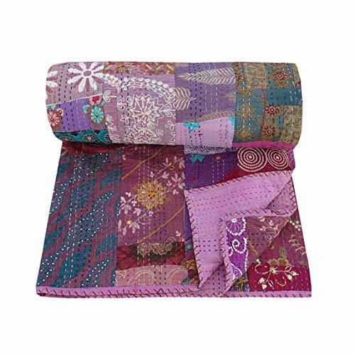 nandnandini Textil indischen Vintage Überwurf Decke Wohnzimmer Schlafzimmer Decor Baumwolle bestickt gesteppt Bettunterlagen Antik Kantha Tagesdecke Bettwäsche-Set handgefertigt Patchwork Kantha Quilt -