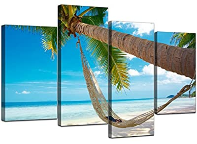 Large Blue Canvas Wall Art Pictures Set XL 130cm Wide Prints Sea 4039