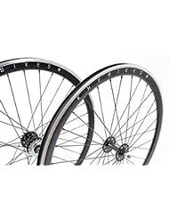 KHE Fixie Jeu de roue 700C Industrie Gela Gert 40mm de haut Noir avec roulement Pignon