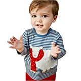 Manadlian Mode Kleinkind Karikatur Schaf Streifen Lange Ärmel Oberteile Baby Bluse T-Shirt Outfit Kinder Weich Karikatur Kleider (24M, Blau)