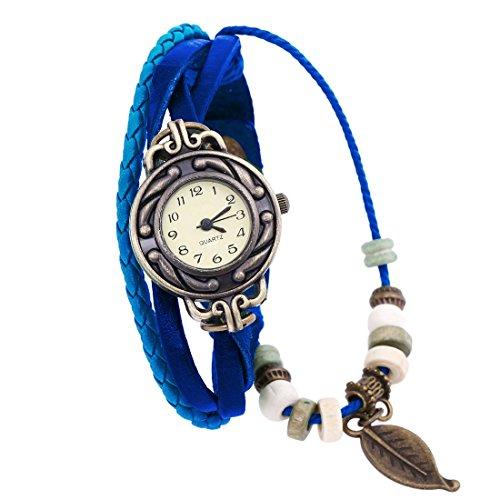 Gleader Bonita Vida tejido circundando de pulsera de cuero para senora mujer reloj de pulsera Azul