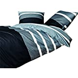 Janine Davos–Ropa de cama 6503008plata negro franela rayas caliente agradable algodón, 100 % algodón, plata, B-Ware 135 x 200 cm