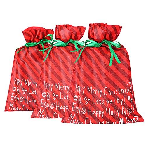 DiaryLook, sacchetti per regali di Natale, grandi, 3pezzi [stampa in lingua italiana non garantita] Red 1
