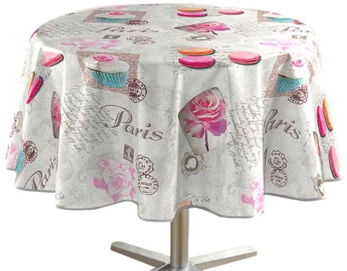 DecorLine Nappe Photoprint Sweet Paris PVC/Polypropylène/Polyester Gris 160 x 160 cm