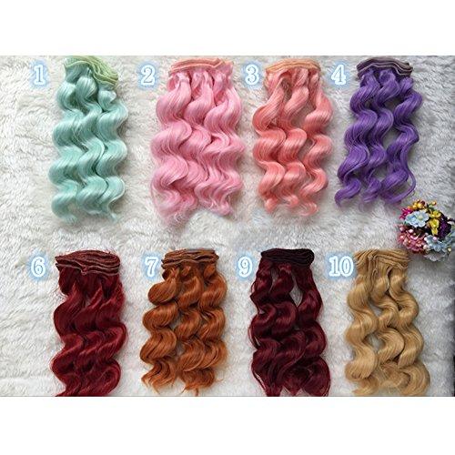 NgratyhJohn DIY Jolie perruque de 15 cm pour petite fille, jouet à faire soi-même, perruque bouclée cheveux ondulés pour enfant - Accessoires BJD - 9#
