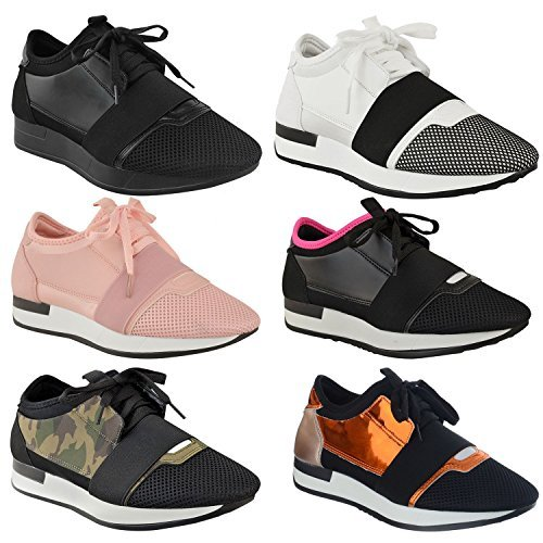 FEMMES DAMES FILLES lacet Baskets Bali RUNNER maille extensible BANDE mode chaussures plates Taille
