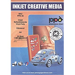 PPD Inkjet Glossy Creative Vinyl Stickers A4 x 20 Sheets (PPD-36-20)