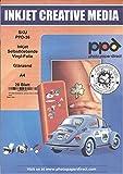 PPD DIN A4 Inkjet Vinylfolie Aufkleberfolie Stickerfolie für Tintenstrahldrucker weiß glänzend selbstklebend, DIN A4 x 20 Blatt PPD-36-20