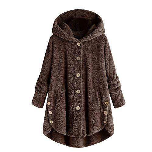 (MIRRAY Damen Knopf Mantel Flaumige Endstück Oberseiten mit Kapuze Pullover Verlieren Strickjacke)