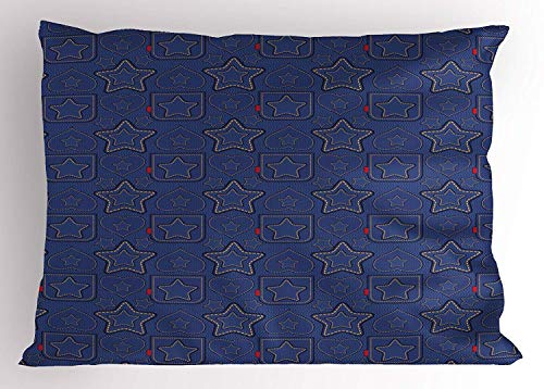 Star Pillow Sham by Ambesonne, Denim Style Pattern with Hearts and Geometric Motifs on Stripes Background, Decorative Standard Queen Size Printed Pillowcase, 30 X 20 Inches, Navy Blue Marigold Red - Denim, Pillow Sham
