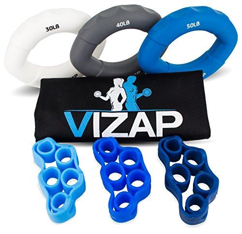 VIZAP® 6er-Set (30-50lb) Premium Handtrainer/ Fingertrainern/ Unterarmtrainer sind perfekt zur Stärkung der Hand- & Unterarmmuskeln - inkl. Finger Stretcher und einem hochwertigem Aufbewahrungsbeutel Volle Finger-ringe Für Frauen