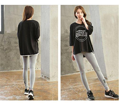 REALLION Femmes 2 Pièces Ensembles de Yoga (T-shirt + Pantalon ) Sportswear à respirant, Hygroscopique et à Séchage Rapide Noir et gris clair
