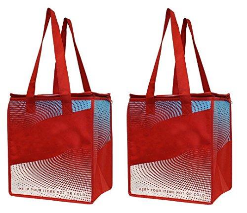 Earthwise 2 pezzi borsa spesa isolata - mantiene i cibi caldi o freddi, grande borsa tote per shopping, termica, frigo, con cerniera, rosso, blu