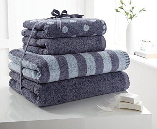 Luxus 100% Baumwolle 4Pc Handtuch Bündel Set Gepunktet & Streifen Hand- & Badehandtuch Blau