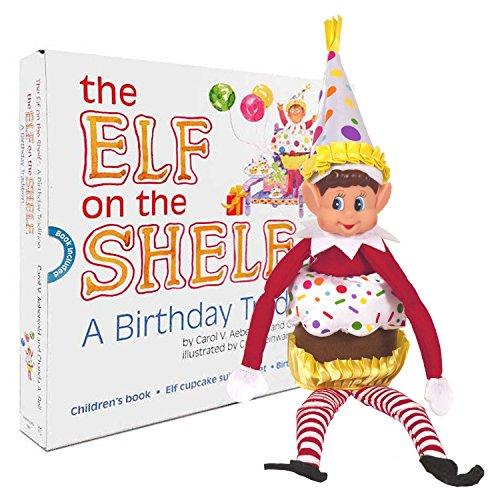 Der Elf auf dem Regal Eine Geburtstagstradition - Offizielle Kids Story Book Plus Kleidung / Zubehör Kit Cupcake Anzug und Partyhut Outfit in Präsentationsbox