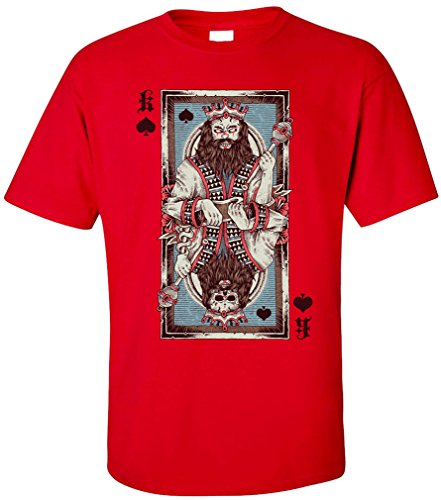 PAPAYANA - KING-CARD - Herren T-Shirt - PIK KÖNIG SKULL ROYAL FLUSH POKER SKAT UNO PLAYER Rot