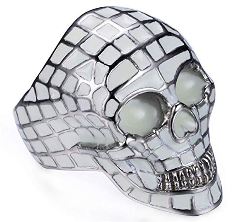 (Ueice Herren Stilvoll Mode Hüfte Hop Halloween Leuchtend Schädel Kopf Punk Rostfreier Stahl Ringe,Blau,Größe 65 (20.7))