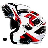 CHQQQ Bluetooth Integralhelme Mit Einem Noise Cancelling-Mikrofon Motorradhelme Mit Anti-Beschlag Doppel Visier Komplett Herausnehmbar Und Waschbar Bequeme Wangenpolster,Whiteflower-XL(63-64cm)