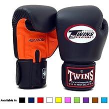 Twins Special Muay Thai guantes de boxeo bgvla 2Flujo de aire guantes. Univesal guantes para entrenamiento o sparring., Anaranjado/Negro
