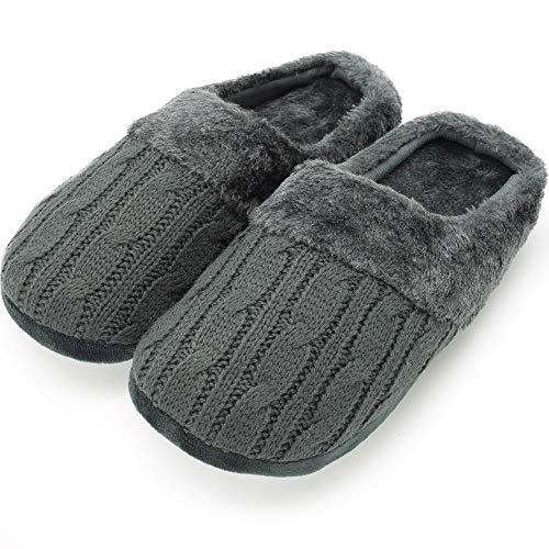 Citycomfort pantofole per uomo e donna in memory foam con pelliccia sintetica ciabatte unisex invernali (7-8 (euro 40-41), cavo a maglia grigio antracite donna)