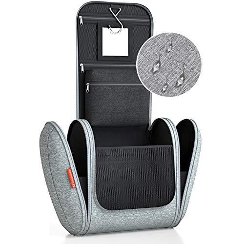 Kulturbeutel XXL [8 Liter Stauraum] Kulturtasche für Männer und Frauen [DESIGN 2019], Kosmetiktasche für Mann und Frau, Waschtasche, Waschbeutel zum Aufhängen für Damen & Herren (grau)
