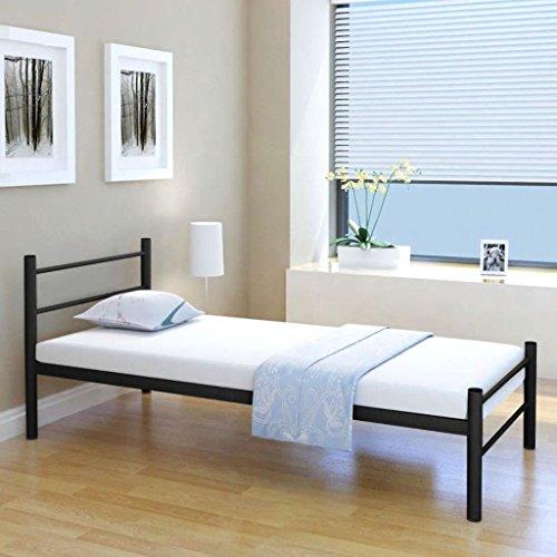mewmewcat Metallbett Einzelbett Bettgestell Bett Metall Bettrahmen ohne 90 x 200 cm Matratze für Schlafzimmer oder Gästezimmer Schwarz -